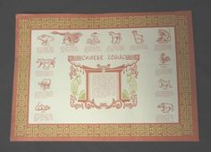 Chinese Zodiac Paper Placemats 50 Pieces (PP-02) by House Of Rice. $8.87. Fun for parties or school groups, pack of approx. 50. Bring in the Chinese New year with these fun placemats!!. Each placemat shows the 12 Chinese zodiacs, years and characteristics. Just like in the Chinese Restaurant!. Paper placemats for your party as a functional placemats and a conversation piece. These placemats list the 12 Chinese Zodiac animals and the years that they represent, character...