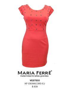 VESTIDO TALLA EXTRA, PLUS SIZE DRESS, CORAL. MARÍA FERRÉ.