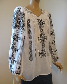 Hand embroidered blouse top  ethnic black and white by RealRomania