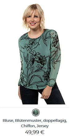 Bluse mit Blütenmuster Blouse, Long Sleeve, Sleeves, Tops, Women, Fashion, Patterns, Moda, Long Dress Patterns