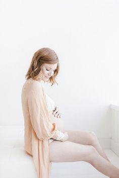 Natural styled studio maternity photos by Miranda North