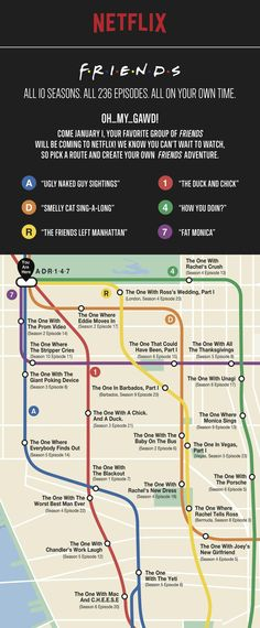 guide to binge-watching 'Friends' on Netflix Netflix created a handy subway-themed episode guide to help binge-watch all 236 episodes of 'Friends.'Netflix created a handy subway-themed episode guide to help binge-watch all 236 episodes of 'Friends. Tv: Friends, Serie Friends, Friends Episodes, Friends Moments, I Love My Friends, Friends Forever, Best Tv Shows, Best Shows Ever, Fandoms
