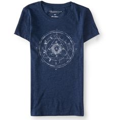 Aeropostale Moon Phase Graphic T ($9) via Polyvore featuring tops, t-shirts, midnight navy, graphic t shirts, star t shirt, slim t shirts, blue shirt and navy blue t shirt