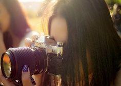 Kobieta, Twarz, Aparat, Fotograficzny, Canon