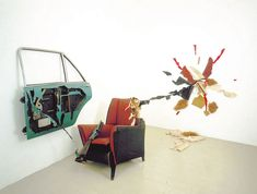 Bill Woodrow Car Door, Armchair and Incident. 1981 car door, armchair and enamel paint (unique) 47 ¼ x 118 x 118 in / 120 x 300 x 300 cm VIA Lisson Gallery, Artwork Images, Enamel Paint, Video Photography, Street Photography, Installation Art, Art Installations, Conceptual Art, Sculpture Art
