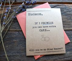 Asking Ring Bearer Rustic Funny Card. You can have extra cake! How to ask bridal party.Kraft.Weddings. Bridal invite Invitation. Bridesmaids cards... by rusticandruffly on etsy.