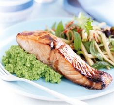 Honey-spiced salmon with wasabi pea mash and apple salad   Healthy Food Guide