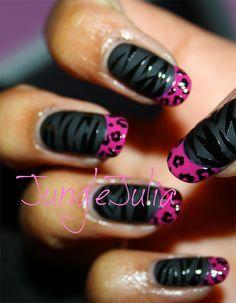 OPI zebra and leopard nail art, Orly