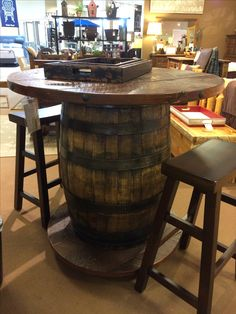 Wine Barrel Dining Room Table - Wine Barrel Dining Room Table , Jack Daniel S Whiskey Barrel as Kitchen Table with Glass top Whiskey Barrel Table, Wine Barrel Table, Wine Barrel Furniture, Whiskey Barrels, Bourbon Barrel, Pub Table And Chairs, Dining Room Table, Pub Tables, Living Room Pub