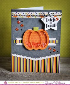 How To make an easy and fun pumpkin shaker card! Queen and Company, Ginger Williams, Halloween Hoopla Kit