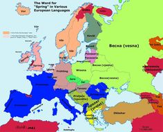 These 20 fascinating etymology maps show how similar words are across Europe in various languages. These maps reveal the roots of Europe's languages and how European Languages, World Languages, European Map, Geography Map, Ukrainian Art, History, Words, Maps, Spring