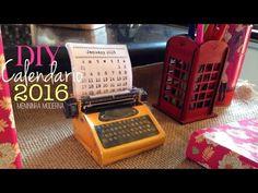Calendário de mesa  2016 máquina de  escrever Diy | Faça você mesma cal...