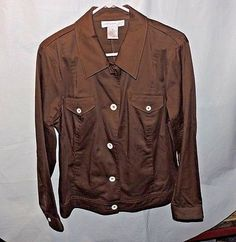 Susan Graver Ponte Knit Stretch Jacket Brown Medium
