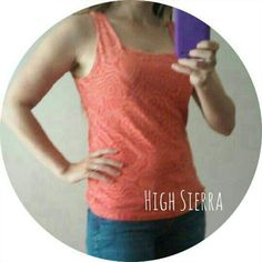 "High Sierra Orange Coral Work out Tank  Sports Bra Support inside. Measures 21"" long and 17"" across bust. 7-27-15 High Sierra Tops Tank Tops"