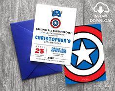 Captain America Birthday Invitation | Printable Invitation | Superhero Invitation | Hero Invitation | Marvel Invitation | Superhero Party