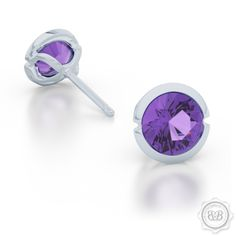 Free Shipping to USA. Little Luxuries. Little Darling Martini Stud Earrings. Genuine Lilac Amethyst set in Sterling Silver or  White Gold. Bashert Jewelry Custom Fine Jewelry Boca Raton Florida