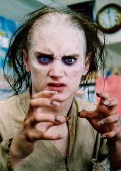 Frodo turning into Gollum - backstage pic from a never-shot scene of Lord of the Rings.