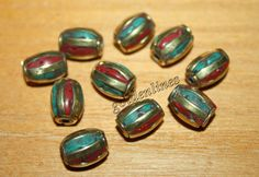 Nepalese Tibetan Handmade Coral turquoise Beads 10 by goldenlines