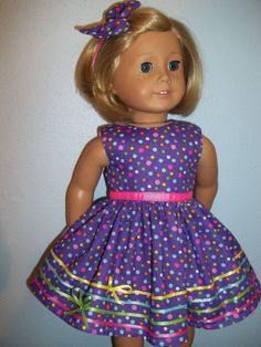 """Dress and Hair Bow for 18"""" American Girl doll-Purple"""