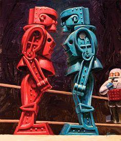 Giant 6' x 7' Rockem Sockem Robots wall mural