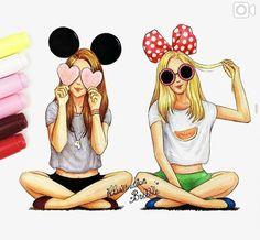 Best friends olta olta in 2019 best friend drawings, bff dra Tumblr Drawings, Girly Drawings, Art Drawings Sketches, Disney Drawings, Best Friend Drawings, Best Friends Forever, Friend Pictures, Art Girl, Minnie Mouse