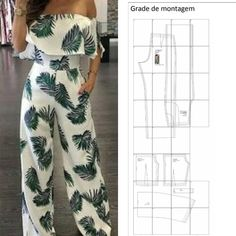 jumpsuit pattern with shoulder frill Fashion Sewing, Diy Fashion, Ideias Fashion, Fashion Dresses, Sewing Pants, Sewing Clothes, Dress Sewing Patterns, Clothing Patterns, Costura Fashion