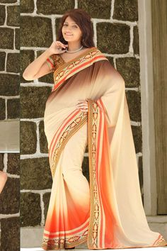 Beige Orange Crepe Saree with Jacquard Blouse Price:-£59.00 Andaaz Fashion new arrival Beige Orange Crepe Saree with Jacquard Blouse and Plain Pallu. Embellished with Resham, Zari work. Sari comes with designer Short Sleeve and stylish V Neck Blouse. This is prefect for Festival, Casual. http://www.andaazfashion.co.uk/beige-orange-crepe-saree-with-jacquard-blouse-dmv7936.html