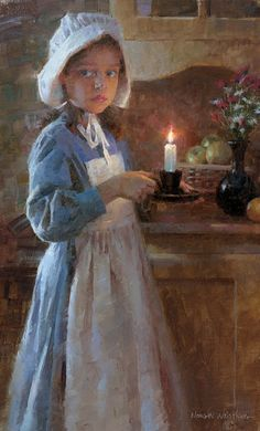"""""""Girl with candle"""" By portrait Artist: Morgan Weistling available from Snow Goose Gallery Morgan Weistling, Illustration Photo, Portrait Art, Beautiful Paintings, Oeuvre D'art, American Artists, Painting Inspiration, Painting & Drawing, Art For Kids"""