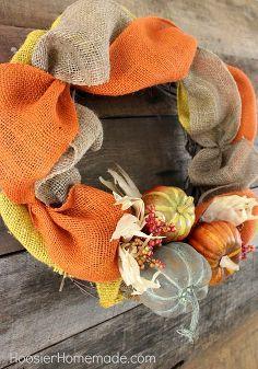 spaść wieniec wykonany z jutowe, rzemiosła, sezonowego wakacyjnego d cor, wieńce, Dodaj dynie w grupie z 3
