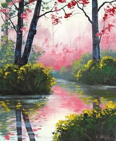 Modern handmade painting colorful rivulet in spring on oil painting canvas for home decor and wall art poster, gallery Easy Landscape Paintings, Watercolor Landscape, Watercolor Paintings, Poster Color Painting, Double Exposition, Beautiful Landscape Wallpaper, Scenery Photography, Arte Floral, Acrylic Art