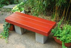 Its Not Work, Its Gardening!: bench project from concrete blocks and scrap wood