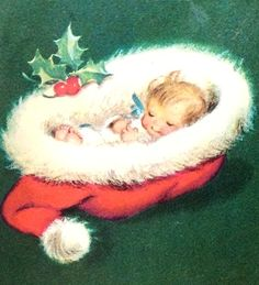 baby in Santa hat at Christmas Vintage Christmas Images, Victorian Christmas, Retro Christmas, Christmas Baby, Christmas Pictures, Christmas Clipart, Christmas Greeting Cards, Christmas Greetings, Ghost Of Christmas Past