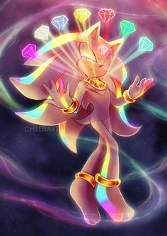 chaos ericius by chillis-art on DeviantArt - this is the artists' idea of what Shadow would become after the world ends. Since he's immortal, he ends up becoming the guardian of all the Chaos Emeralds as well as the Master Emerald. Shadow The Hedgehog, Hedgehog Art, Silver The Hedgehog, Sonic The Hedgehog, Sonic And Amy, Sonic And Shadow, Pyssla Pokemon, Super Shadow, Shadow And Maria