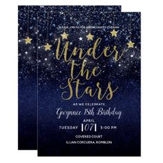 Under The Stars Starry Night Gold Blue Prom Party Invitation Customize both sides any way you want, for any event. Prom Themes, Quinceanera Themes, Quinceanera Planning, Prom Invites, Party Invitations, Custom Invitations, 18th Birthday Party, Birthday Party Themes, Birthday Ideas