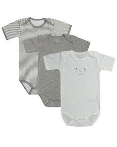 Kurzarm-Body TEDDY 3er-Pack in grau/weiß