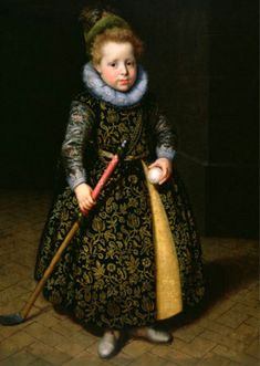 Portrait of a Four-Year-Old Boy with Club and Ball ~ ~ by Paulus Moreelse (Dutch, ~ fashionable little boys' dress ~ Paulus Moreelse was a Dutch painter, mainly of portraits. Historical Costume, Historical Clothing, Women's Clothing, Renaissance, Four Year Old, Google Art Project, Old Boys, Ball Dresses, Fashion History