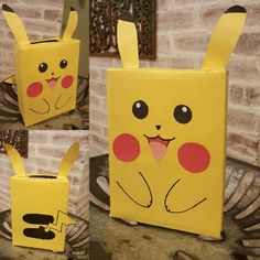 Kindergarten boys & girls valentine's day Pikachu box for class party and card exchange. Made from construction paper, tape, marker and empty box. Easy DIY.