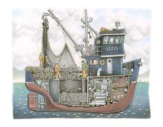 This is a classic steel salmon seiner hauling aboard a pretty nice set of fish in Alaska. Here you can see the boats below deck spaces and the fish. Hatch Cover, Boat Drawing, King Salmon, Alaska Fishing, Below Deck, Boat Art, Bass Boat, Jon Boat, Tug Boats