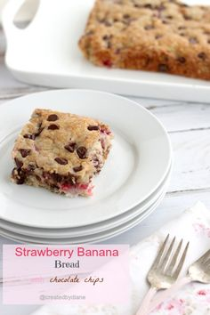 Strawberry Banana Bread with Chocolate Chips