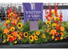 Large podium stage floral display