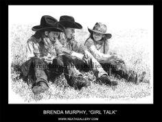 "Western Art by Brenda Murphy, ""Girl Talk"" Little Cowboy, Cowboy And Cowgirl, Western Theme, Western Art, Cowboy Draw, Cowgirls, Pencil Art, Sculpture Art, Animal Pictures"