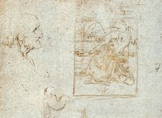 """Étude pour une """"vierge en adoration"""" et étude de tête (détail) Windsor Castle, Royal library"""