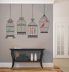 4 BIRDS CAGES Decals Removable Wall Art 5 colors Vinyl Dinning Living Room Nursery Birdcage Sticker