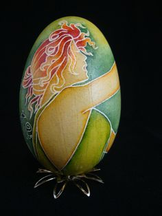 Art Nouveau style Pysanky Goose Egg Absinthe by GrnFaerieDesigns, $130.00