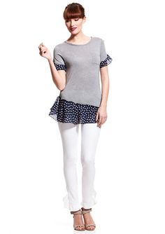 RED VALENTINO Polka-Dot Detail T-Shirt Tunic - Good idea to update a regular Tshirt