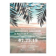 Tropical Beach Wedding | Hawaii String of Lights Invitation Card
