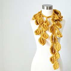 NEW DESIGN  Crochet Art Scarf Fairies Garland  by kanokwalee, $95.00