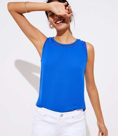 Shop LOFT for stylish women's clothing. You'll love our irresistible Cutout Mixed Media Shell - shop LOFT.com today!