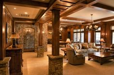 Stone And Wood Columns Design Ideas, Pictures, Remodel and Decor Rustic Basement, Modern Basement, Basement Bedrooms, Basement Bathroom, Basement Flooring, Basement Kitchen, Basement Apartment, Basement Walls, Apartment Ideas