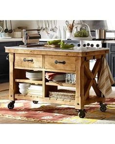 hamilton reclaimed wood kitchen island Oh, this looks so functional and beautiful Marble Top Kitchen Island, Mobile Kitchen Island, Kitchen Island On Wheels, Farmhouse Kitchen Island, Kitchen Tops, New Kitchen, Kitchen Ideas, Barn Kitchen, Kitchen Rustic